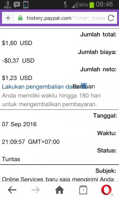 Bukti Pembayaran URL SHORTENER sht.io September 2016
