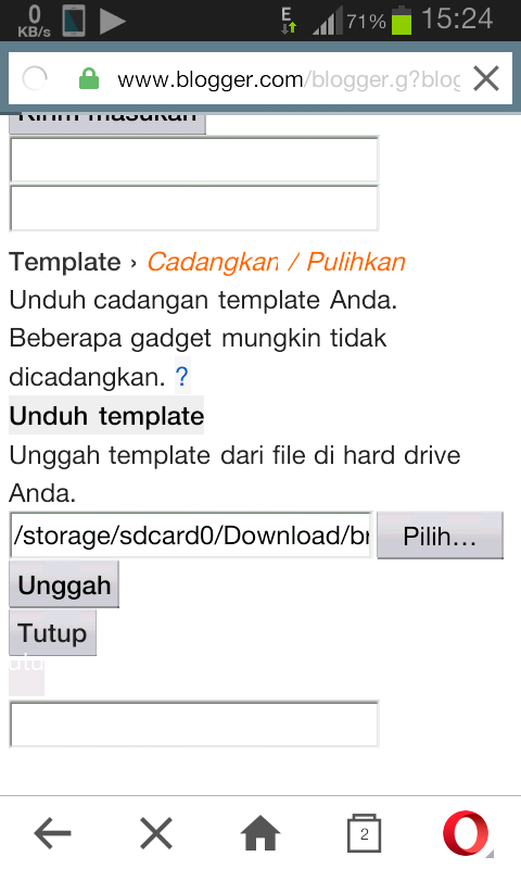 Edit Template Blogger via HP java symbian android